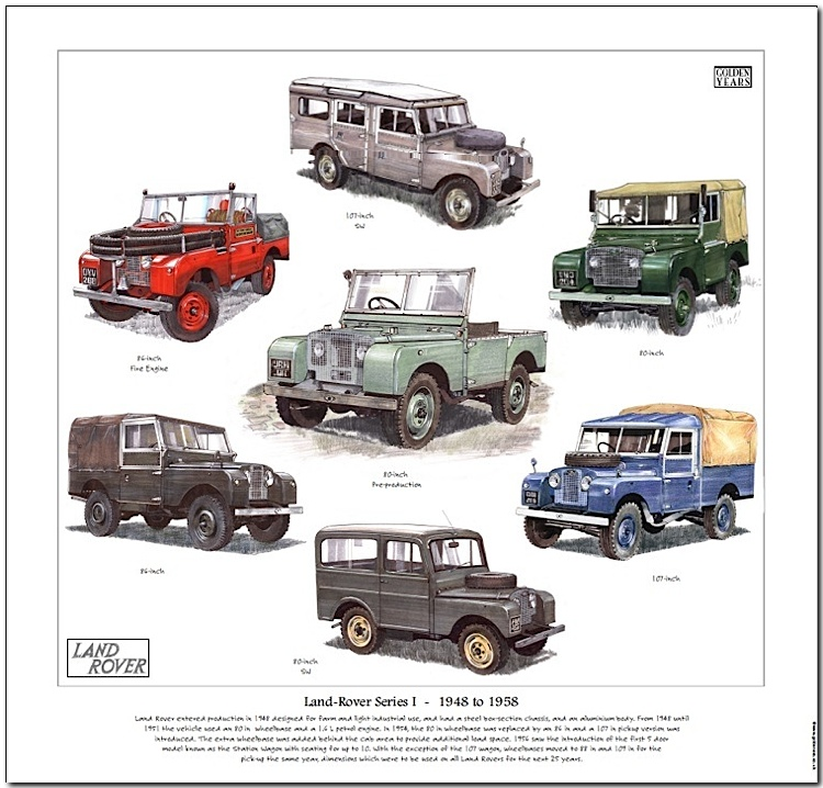 Details about LAND ROVER Series 1 FINE ART PRINT - 80, 86 & 107 inch